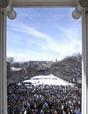 Crowd of people on Bascom Hill