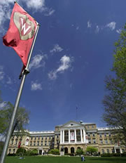 University flag on Bascom Hill