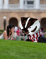 Bucky Badger studying with a student.