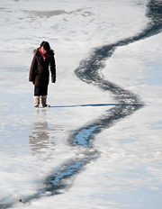 Student on a frozen lake