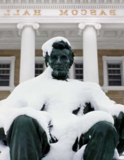 Lincoln statue in the snow